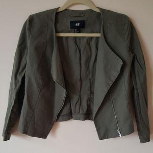 H&M Blazer Jacket in Olive Green Size 36